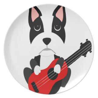 Fun Boston Terrier Dog Playing Guitar Plate