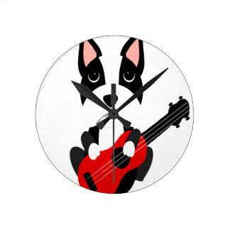 Fun Boston Terrier Dog Playing Guitar Round Clock