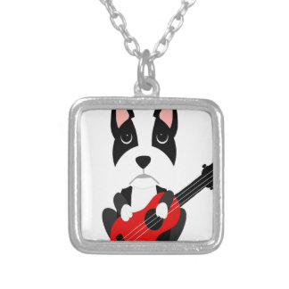 Fun Boston Terrier Dog Playing Guitar Silver Plated Necklace