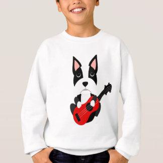 Fun Boston Terrier Dog Playing Guitar Sweatshirt