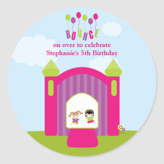 Fun bounce house girls birthday party stickers