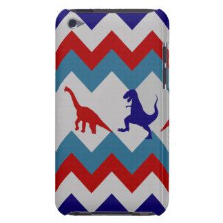 Fun Boys Dinosaurs Red Blue Chevron Pattern iPod Touch Case