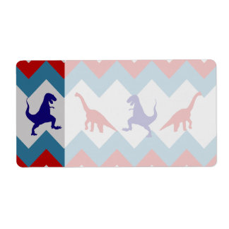 Fun Boys Dinosaurs Red Blue Chevron Pattern Shipping Label