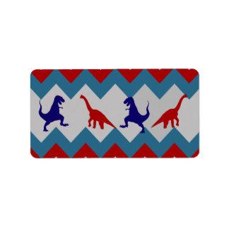 Fun Boys Dinosaurs Red Blue Chevron Pattern Address Label