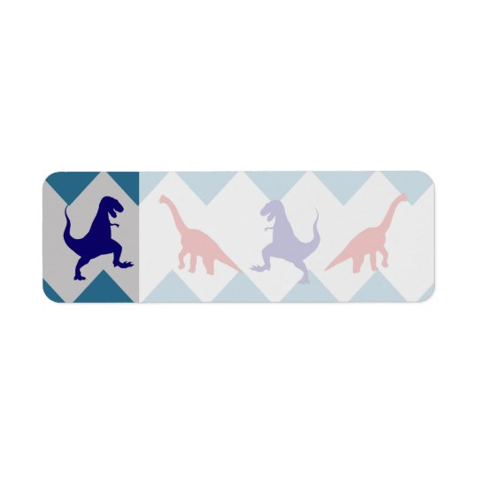 Fun Boys Dinosaurs Red Blue Chevron Pattern Return Address Label