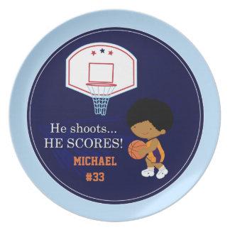 Fun boys personalized basketball sports plate