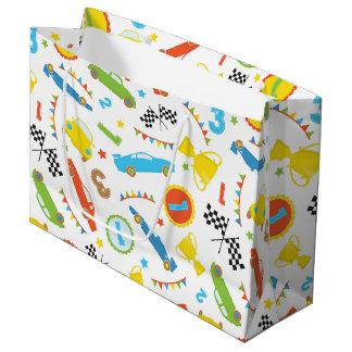 Fun boys race car pattern party gift bag