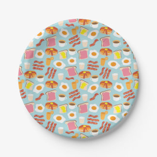 Fun Breakfast Brunch Party Pattern Paper Plate