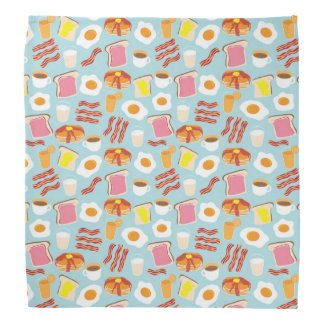 Fun Breakfast Food Illustrations Pattern Bandana