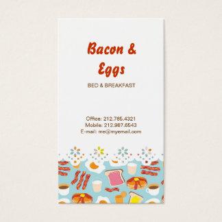 Fun Breakfast Food Illustrations Pattern Business Card