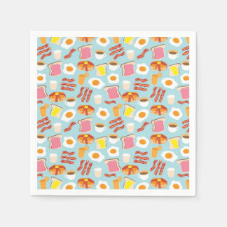 Fun Breakfast Food Illustrations Pattern Paper Napkins