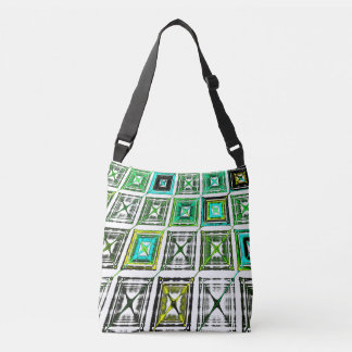 Fun Bright abstract plaid checkered cross body bag