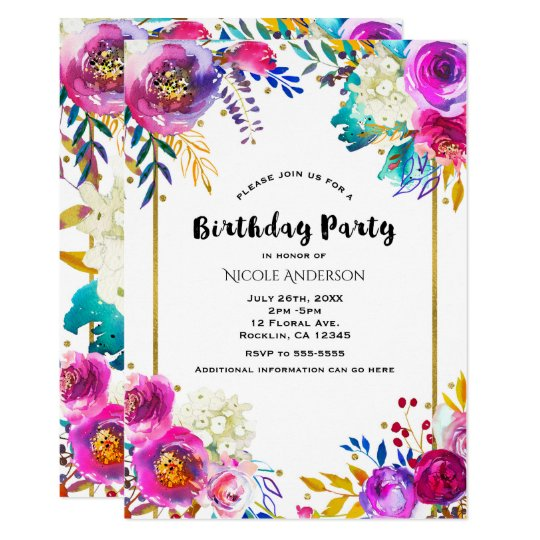 Fun Bright Bold Watercolor Floral Birthday Party Card
