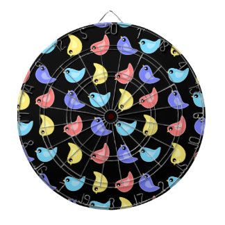 Fun bright colorful birds pattern dart board