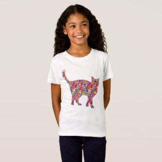 Fun Bright Colourful Dynamic Heart-filled Cat T-Shirt