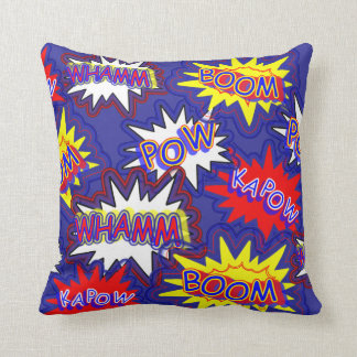 Fun Bright Comic Book Exclamations Pow Boom Kapow Throw Pillow