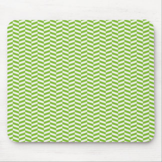 Fun Bright Green Chevron Pattern Mouse Pad
