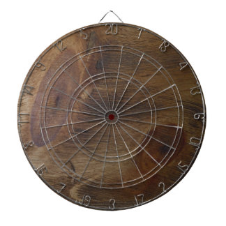 Fun Brown Knotty Rustic Wood Look Background Dartboard