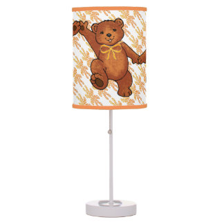 Fun Brown Teddy Bears With Orange Bows Table Lamps