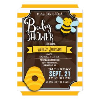 "Fun, Brown & Yellow Honey Bee Baby Shower 5"" X 7"" Invitation Card"