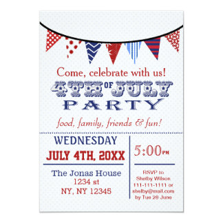 Fun Bunting July 4th Holiday party Invitation