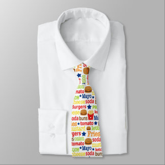 Fun burgers and fries word art pattern tie