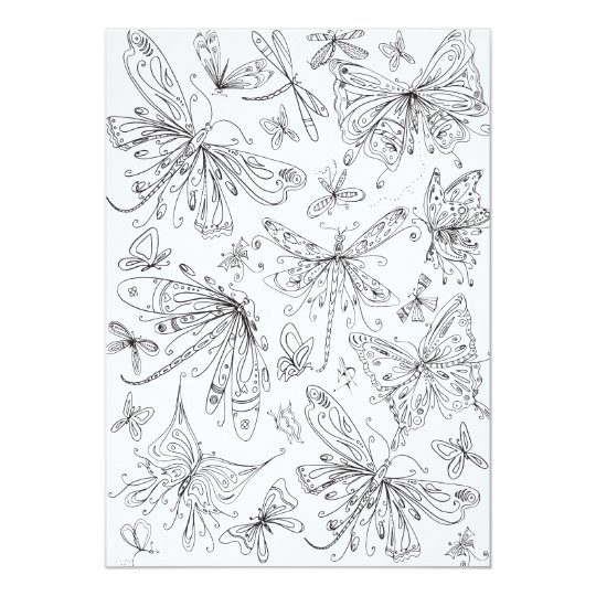 Fun Butterfly Dragonfly Whimsical Colouring Card