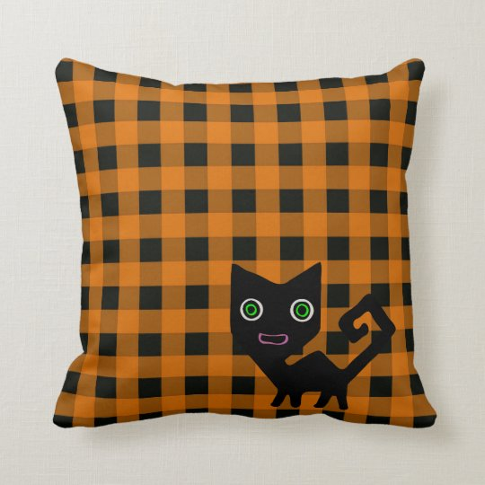 Fun Cartoon Black Cat on Orange and Black Gingham Throw Pillow