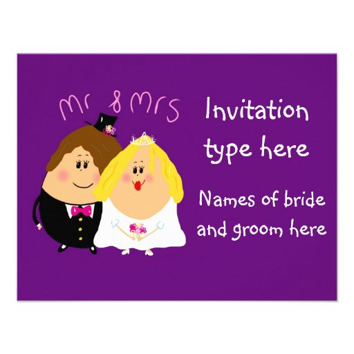 Fun cartoon bride and groom wedding invitation
