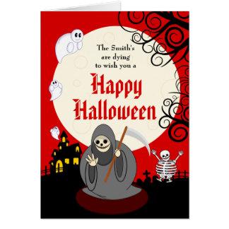Fun cartoon full moon Halloween Death scene, Card