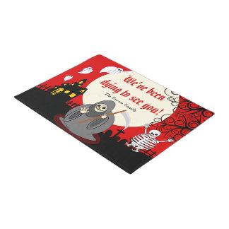 Fun cartoon full moon Halloween Death scene, Doormat