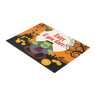 Fun cartoon full moon Halloween Frankenstein scene Doormat