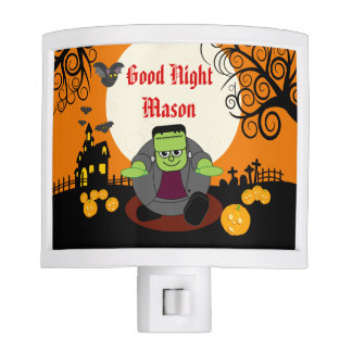 Fun cartoon full moon Halloween Frankenstein scene Nite Lite