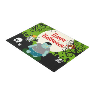 Fun cartoon full moon Halloween zombie scene, Doormat