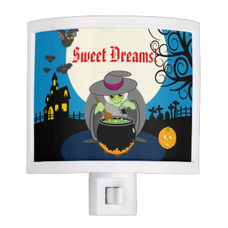 Fun cartoon full moon scary Halloween witch scene, Night Lights