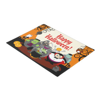 Fun cartoon Halloween monster costume party group, Doormat