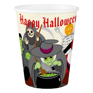 Fun cartoon Halloween monster costume party group, Paper Cup