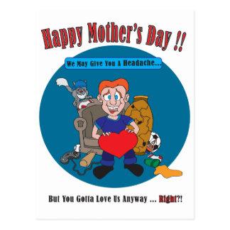Fun Cartoon Kids Happy Mother's Day Postcard