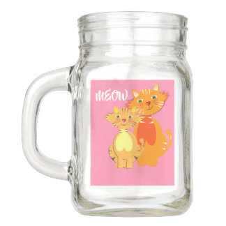 Fun Cartoon Kitty Cats Adorable Birthday Mason Jar