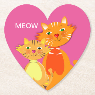 Fun Cartoon Kitty Cats Adorable Birthday Paper Coaster
