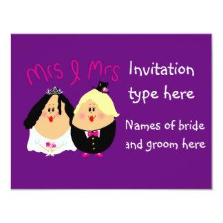 Fun cartoon lesbians wedding invitation