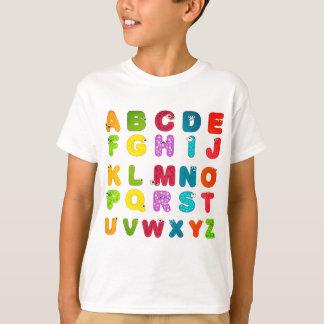Fun Cartoon Letters Alphabet Print T-Shirt