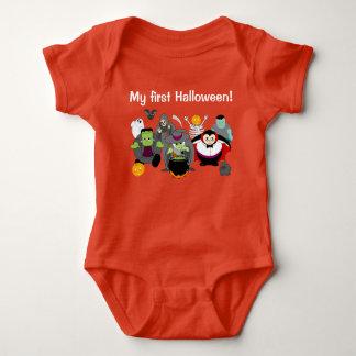 Fun cartoon of a group of Halloween monsters, Baby Bodysuit