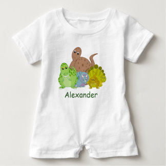Fun cartoon of a group of Jurassic dinosaurs, Baby Romper