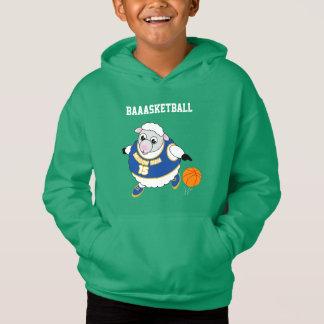 Fun cartoon of a sheep dribbling a basketball,