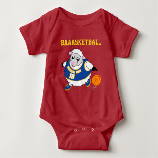 Fun cartoon of a sheep dribbling a basketball, baby bodysuit