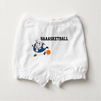Fun cartoon of a sheep dribbling a basketball, diaper cover