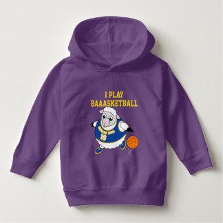 Fun cartoon of a sheep dribbling a basketball, hoodie