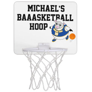 Fun cartoon of a sheep dribbling a basketball, mini basketball hoop