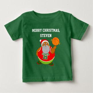 Fun cartoon of Black Santa spinning a basketball, Baby T-Shirt